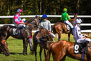 Horses at the start of the Victoria Racing Club Maiden Fillies' Stakes during Day 2 of QGF2018, the Qatar Goodwood Festival.<br /> Picture date: Wednesday August 1, 2018.<br /> Photograph by Christopher Ison ©<br /> 07544044177<br /> chris@christopherison.com<br /> www.christopherison.com