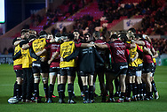 Toulon players huddlele during the pre match warm up<br /> <br /> Photographer Simon King/Replay Images<br /> <br /> European Rugby Champions Cup Round 6 - Scarlets v Toulon - Saturday 20th January 2018 - Parc Y Scarlets - Llanelli<br /> <br /> World Copyright &copy; Replay Images . All rights reserved. info@replayimages.co.uk - http://replayimages.co.uk
