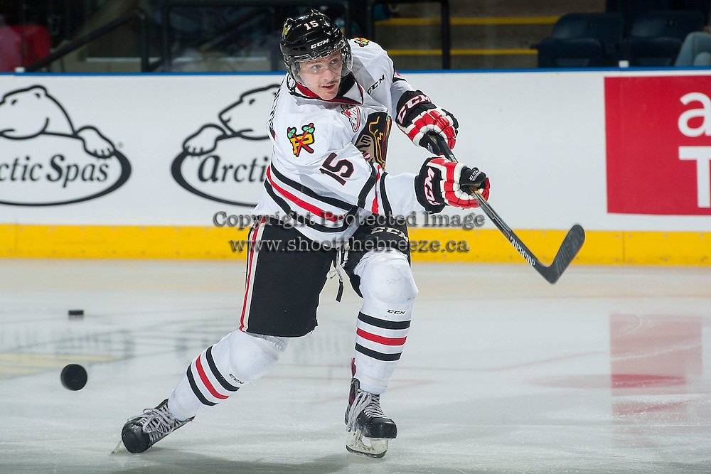 KELOWNA, CANADA - NOVEMBER 21: Tyson Predinchuk #15 of Portland Winterhawks warms up against the Kelowna Rockets on November 21, 2014 at Prospera Place in Kelowna, British Columbia, Canada.  (Photo by Marissa Baecker/Shoot the Breeze)  *** Local Caption *** Tyson Predinchuk;