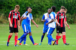 Bristol Rovers' U18s  Chad Douglas celebrates with his team mates after scoring - Photo mandatory by-line: Dougie Allward/JMP - Tel: Mobile: 07966 386802 17/08/2013 - SPORT - FOOTBALL - Bristol Rovers Training Ground - Friends Life Sports Ground - Bristol - Academy - Under 18s - Youth - Bristol Rovers U18s V Bournemouth U18s