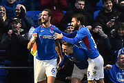 Goal - Christian Burgess (6) of Portsmouth celebrates after he scores a goal to make the score 4-1 with Ben Close (33) of Portsmouth during the The FA Cup match between Portsmouth and Barnsley at Fratton Park, Portsmouth, England on 25 January 2020.