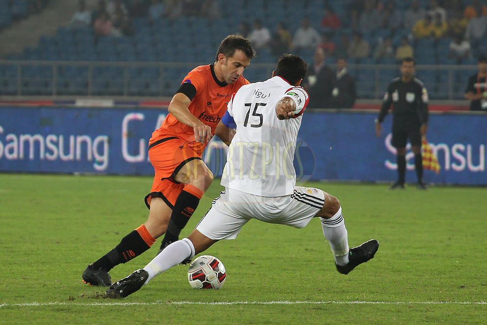 Delhi Dynamos FC captain Alessandro Del Piero  attacks during match 16 of the Hero Indian Super League between The Delhi Dynamos FC and NorthEast United FC held at the Jawaharlal Nehru Stadium, Delhi, India on the 29th October 2014.<br /> <br /> Photo by:  Ron Gaunt/ ISL/ SPORTZPICS
