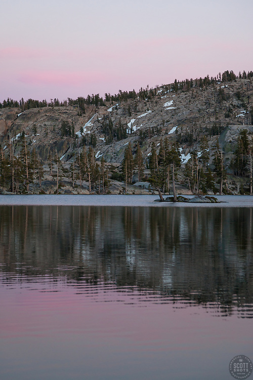 """Paradise Lake Sunset 2"" - Photograph of Paradise Lake in the Tahoe National Forest taken at sunset."