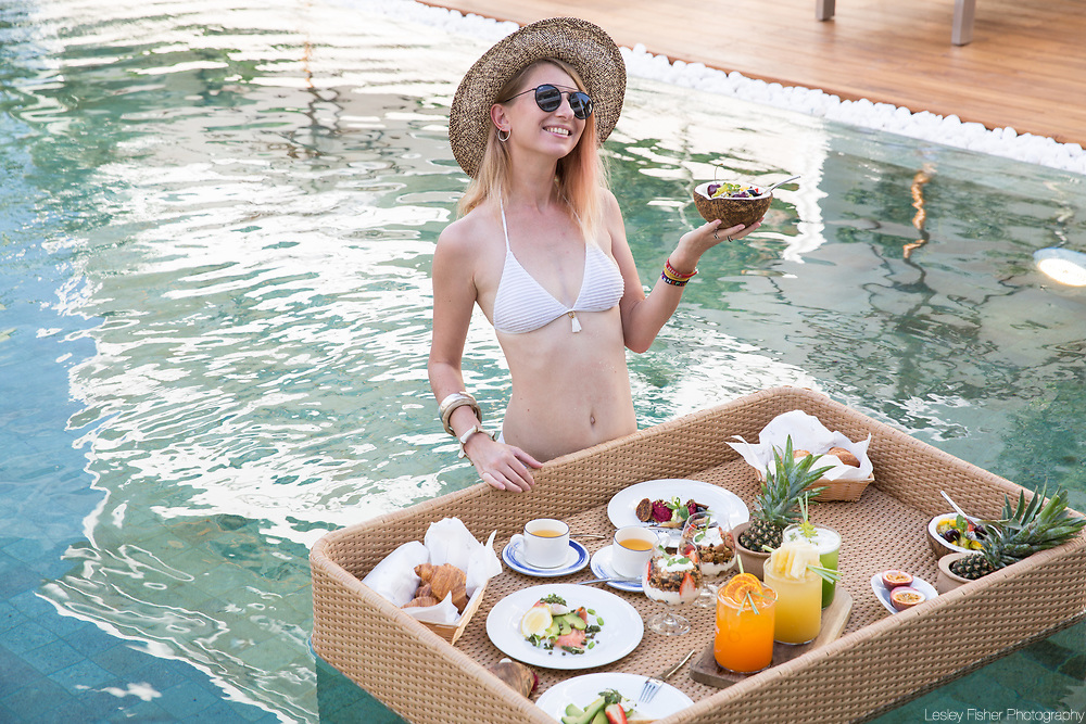 Romantic pool breakfast served at Chi Residence, luxury and private apartments for rent located in Bang Rak, Koh Samui, Thailand