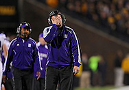 October 15, 2011: Northwestern Wildcats head coach Pat Fitzgerald reacts to an Iowa touchdown during the second half of the NCAA football game between the Northwestern Wildcats and the Iowa Hawkeyes at Kinnick Stadium in Iowa City, Iowa on Saturday, October 15, 2011. Iowa defeated Northwestern 41-31.