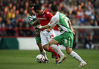 Photo: Rich Eaton.<br /> <br /> Nottingham Forest v Yeovil Town. Coca Cola League 1. Play off Semi Final 2nd Leg. 18/05/2007. Forests Jack Lester #14 is stopped by the Yeovil defence