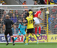 Picture by David Horn/Focus Images Ltd +44 7545 970036<br /> 14/09/2013<br /> Dorian Dervite of Watford scores but it is ruled out during the Sky Bet Championship match at Vicarage Road, Watford.