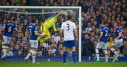 LIVERPOOL, ENGLAND - Sunday, April 9, 2017: Everton's goalkeeper Joel Robles is beaten by as free-kick from Leicester City's Marc Albrighton for the second goal  during the FA Premier League match at Goodison Park. (Pic by David Rawcliffe/Propaganda)