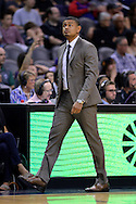 Nov 2, 2016; Phoenix, AZ, USA; Phoenix Suns head coach Earl Watson walks the sidelines of the game against the Portland Trail Blazers during the first half at Talking Stick Resort Arena. The Suns defeated the Trail Blazers 118-115 in overtime. Mandatory Credit: Jennifer Stewart-USA TODAY Sports
