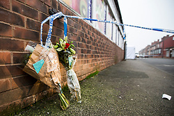 © Licensed to London News Pictures. 27/01/2017. Leeds UK. A man has been shot & seriously injured at a barbers shop on Gathorne Terrace in the Chapeltown area of Leeds. Photo credit: Andrew McCaren/LNP