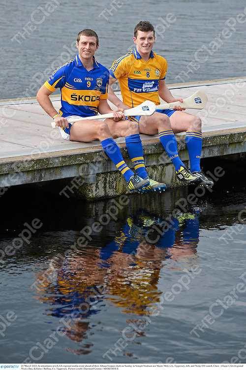 25 March 2013; In attendance at a GAA regional media event ahead of their Allianz League clash on Sunday in Semple Stadium are Shane McGrath, Tipperary, left, and Nicky O'Connell, Clare. Allianz GAA Regional Media Day, Killaloe / Ballina, Co. Tipperary. Picture credit: Diarmuid Greene / SPORTSFILE
