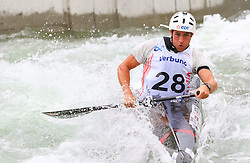 27.06.2015, Verbund Wasserarena, Wien, AUT, ICF, Kanu Wildwasser Weltmeisterschaft 2015, C1 men, im Bild Quentin Dazeur (FRA) // during the final run in the men's C1 class of the ICF Wildwater Canoeing Sprint World Championships at the Verbund Wasserarena in Wien, Austria on 2015/06/27. EXPA Pictures © 2014, PhotoCredit: EXPA/ Sebastian Pucher