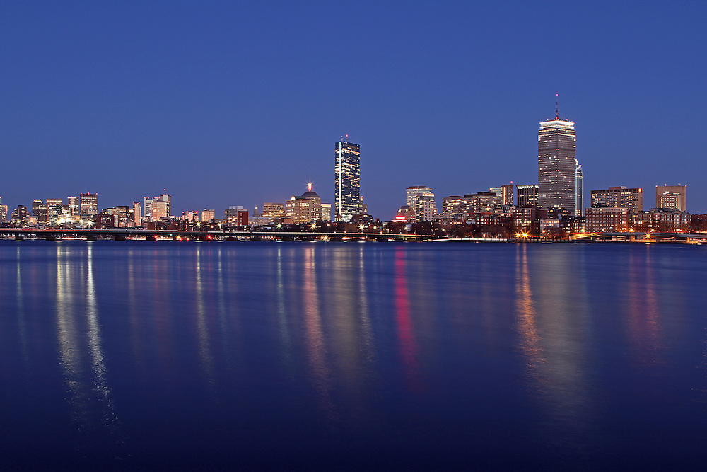 Blue Night Boston skyline photography pictures are available as museum quality photography prints, canvas prints, acrylic prints or metal prints. Prints may be framed and matted to the individual liking and decorating needs:<br />