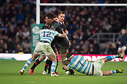 Twickenham, Surrey United Kingdom. Antony WATSON, tackled by Santiago GONZALEZ-INGLESIAS and Marcos KREMER [Ground], during the England vs Argentina. Autumn International, Old Mutual Wealth series. RFU. Twickenham Stadium, England. <br /> <br /> Saturday  11.11.17.    <br /> <br /> [Mandatory Credit Peter SPURRIER/Intersport Images]