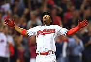 CLEVELAND, OH - OCTOBER 6: Francisco Lindor #12 of the Cleveland Indians reacts to hitting a solo home run in the third inning during Game 1 of ALDS against the Boston Red Sox at Progressive Field on Thursday, October 6, 2016 in Cleveland, Ohio. (Photo by Joe Sargent/MLB Photos via Getty Images)