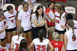 16 SEP 2008:  The Redbirds get instructions from coach Melissa Myers at a time out during a match at Redbird Arena on the campus of Illinois State University in Normal Illinois.  The Illinois State Redbirds went toe to toe with the University of Illinois Illini but in the end were outpaced by the 23rd ranked Division 1 Illini team 3 sets to 1.
