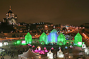 The Saint Paul Winter Carnival Ice Palace as seen from the Xcel Energy Center, in the background is the Cathedral of Saint Paul. (Charles Hall/challphotos.com)