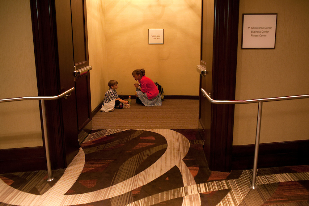 New York, NY - July 05, 2013 : Luke Spring, 10, with his mother Jill Spring has some quiet time before he performs in the Junior Gala during the New York City Dance Alliance National Summer Workshop held at the Sheraton New York Times Square Hotel in New York, NY on  July 05, 2013. Luke Spring, a dance prodigy from Studio Bleu Dance Center in Ashburn, VA, has performed on the Tonys, Ellen, So You Think You Can Dance and The Ford Gala. His sisters Cami Spring, 20, and Lucy Spring, 18, are both award winning dancers. (Photo by Melanie Burford/Prime for The Washington Post)