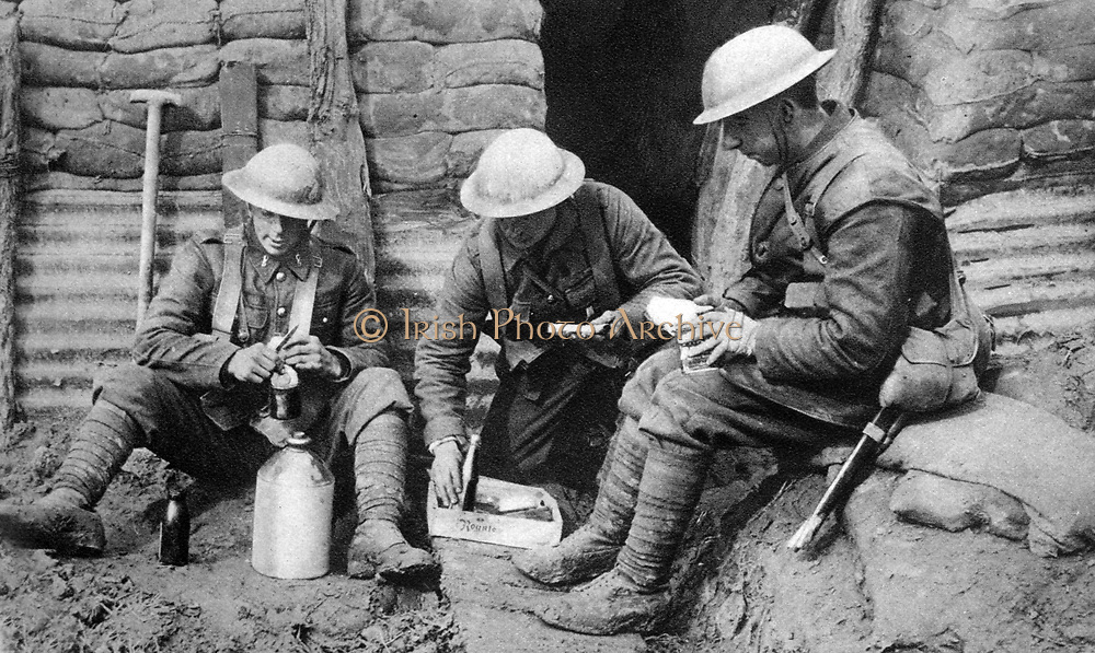 Lunch in the Canadian trenches, within fifty yards of the German lines.