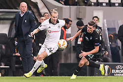 (L-R) Domagoj Vida of Besiktas JK, Marcus Antonsson of Malmo FF during the UEFA Europa League group I match between between Besiktas AS and Malmo FF at the Besiktas Park on December 13, 2018 in Istanbul, Turkey