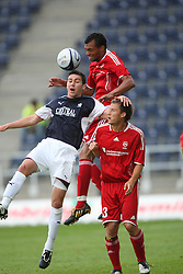 Carl Finnigan &amp; Michael Stegmayer.<br /> Falkirk v FC Vaduz, Europa League Qualifying.<br /> &copy;2009 Michael Schofield. All Rights Reserved.