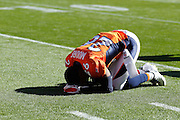 DENVER, CO - OCTOBER 30: Rahim Moore #26 of the Denver Broncos prays before the game against the Detroit Lions at Sports Authority Field at Mile High on October 30, 2011 in Denver, Colorado. The Lions won 45-10. (Photo by Joe Robbins)