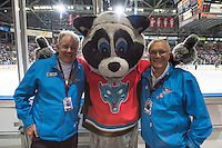 KELOWNA, CANADA - MAY 11: Rocky Racoon and two long time volunteer ushers on May 11, 2015 during game 3 of the WHL final series at Prospera Place in Kelowna, British Columbia, Canada.  (Photo by Marissa Baecker/Shoot the Breeze)  *** Local Caption ***