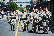 Jul 20, 2016; Cleveland, OH, USA; Police gather in downtown Cleveland at the site of the Republican National Convention.