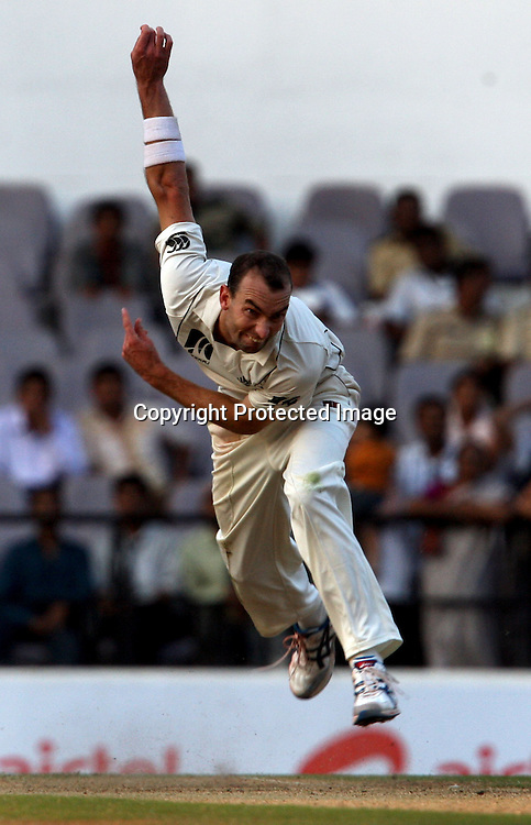 New Zealand bowler Andy McKay in action during The India vs New Zealand 3rd test match day-2 Played at Vidarbha Cricket Association Stadium, Jamtha, Nagpur, 21, November 2010 (5-day match)