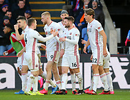 Oliver Norwood of Sheffield Utd celebrates his corner bing dropped into the net by Vicente Guaita of Crystal Palace during the Premier League match at Selhurst Park, London. Picture date: 1st February 2020. Picture credit should read: Paul Terry/Sportimage