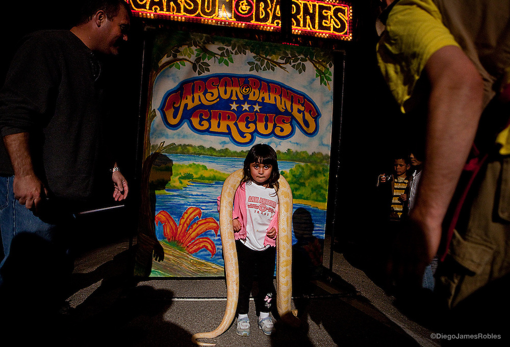 During a show intermission on Sunday night, March 29, 2009, Jessica Roberts, 4, doesn't know where to look as she reluctantly poses with a large white and yellow python while her father figures out how to work his camera.