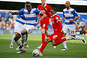 Charlton Athletic striker Ademola Lookman (37) looks to get a cross in during the Sky Bet Championship match between Queens Park Rangers and Charlton Athletic at the Loftus Road Stadium, London, England on 9 April 2016. Photo by Andy Walter.