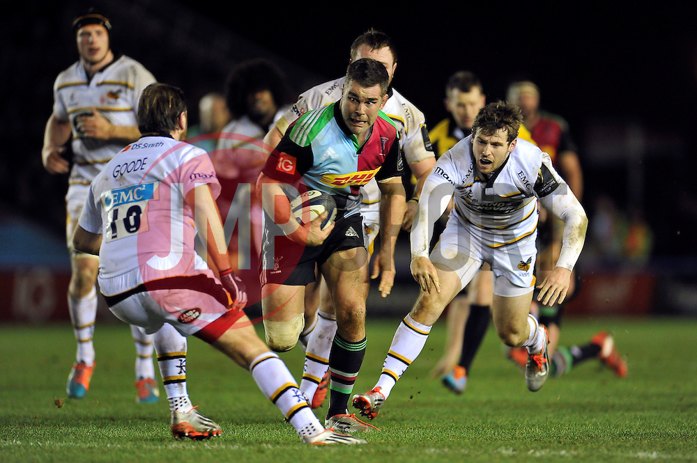 Nick Easter of Harlequins takes on the Wasps defence - Photo mandatory by-line: Patrick Khachfe/JMP - Mobile: 07966 386802 17/01/2015 - SPORT - RUGBY UNION - London - The Twickenham Stoop - Harlequins v Wasps - European Rugby Champions Cup
