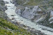 Floodplain / Glacier River, Schlatenkees, Großvenediger, High Tauern National Park (Nationalpark Hohe Tauern), Central Eastern Alps, Austria | Schlatenbach gefüllt mit Gletscher Wasser (Schlatenkees Großvenediger in der Venedigergruppe) Nationalpark Hohe Tauern, Osttirol in Österreich