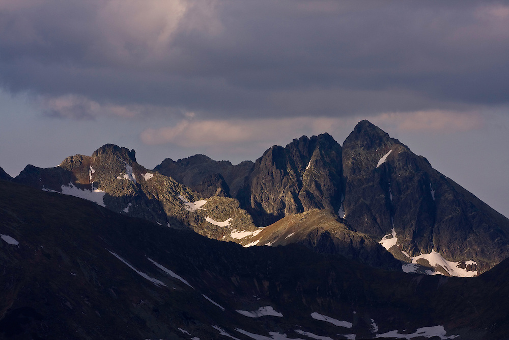Mount Kozi Wierch (2291 m asl) at sunset. High Tatras, Slovakia. June 2009. Mission: Ticha