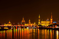 Domes of the old city along the Elbe River, Dresden, Saxony, Germany