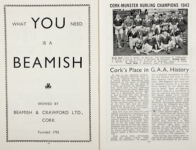 All Ireland Senior Hurling Championship Final, .Brochures,.05.09.1943, 09.05.1943, 5th September 1943, .Antrim 0-4, Cork 5-16,.Minor Dublin v Kilkenny, .Senior Antrim v Cork, .Croke Park, ..Advertisements, Beamish,..Articles, Cork's Place in G.A.A. History,