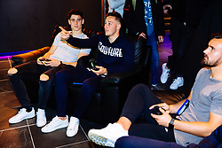 Callum O'Dowda, Josh Brownhill and Bailey Wright in action as Bristol City players visit the Belong by GAME gaming arena to play the new FIFA 18 - Rogan/JMP - 27/09/2017 - Merchant Street - Bristol, England.