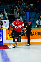 KAMLOOPS, CANADA - NOVEMBER 5:  Kirby Dach #77 of Team WHL enters the ice against the Team Russia on November 5, 2018 at Sandman Centre in Kamloops, British Columbia, Canada.  (Photo by Marissa Baecker/Shoot the Breeze)