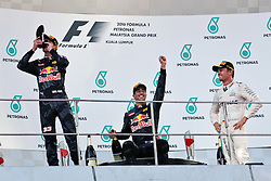 The podium (L to R): Max Verstappen (NLD) Red Bull Racing, second; Daniel Ricciardo (AUS) Red Bull Racing, race winner; Nico Rosberg (GER) Mercedes AMG F1, third.<br /> 02.10.2016. Formula 1 World Championship, Rd 16, Malaysian Grand Prix, Sepang, Malaysia, Sunday.<br /> Copyright: Photo4 / XPB Images / action press
