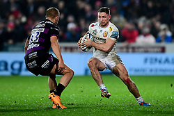 Sam Hill of Exeter Chiefs is marked by Fraser Balmain of Gloucester Rugby - Mandatory by-line: Ryan Hiscott/JMP - 14/02/2020 - RUGBY - Kingsholm - Gloucester, England - Gloucester Rugby v Exeter Chiefs - Gallagher Premiership