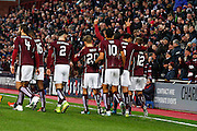 Hearts FC Defender Igor Rossi and the team celebrate the goal during the Ladbrokes Scottish Premiership match between Heart of Midlothian and Motherwell at Tynecastle Stadium, Gorgie, Scotland on 16 January 2016. Photo by Craig McAllister.