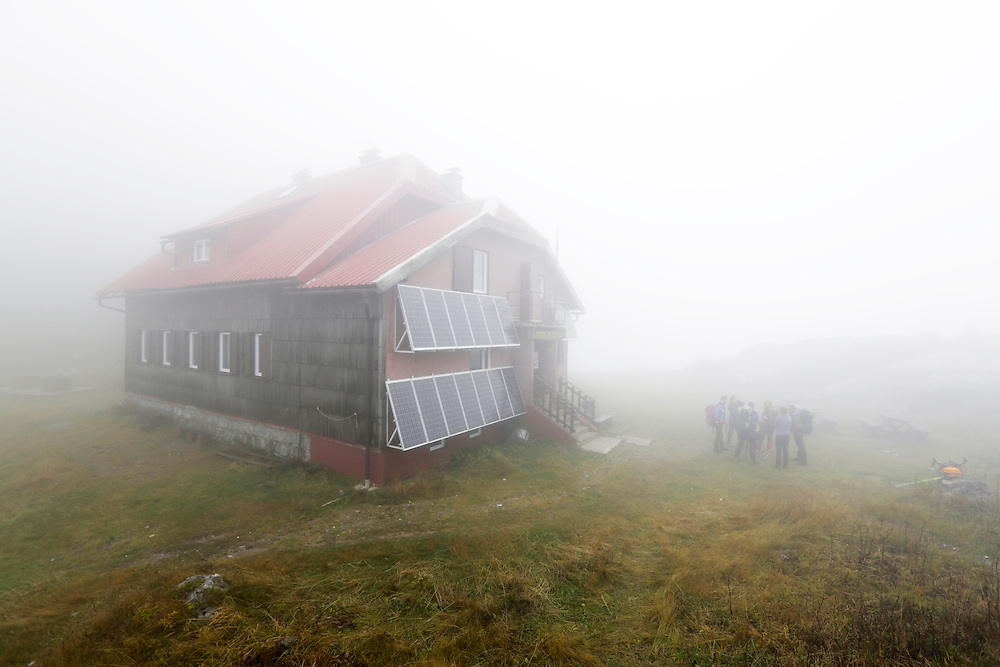 Schlosser mountain hut in mist, Risnjak National Park, Gorski Kotar, Croatia.