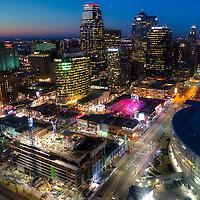 Kansas City Downtown Skyline Aerial Photo at Dusk