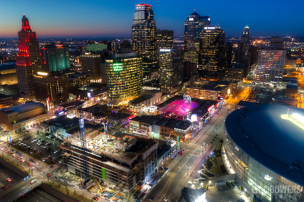 Kansas City Downtown Skyline Aerial Photo at Dusk