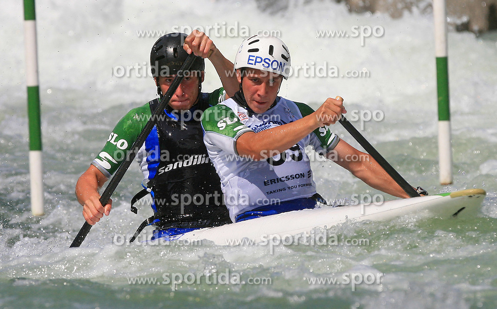 Luka Slapsak and Blaz Oven (SLO) of Men's C2 Canoe Double at Heats - 1st Run of ICF Kayak/Canoe Slalom Racing World Cup Tacen 2008, on June 28, 2008, Ljubljana, Slovenia. (Photo by Vid Ponikvar / Sportal Images)../ Sportida)