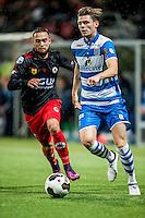 ROTTERDAM - Excelsior - PEC Zwolle , Voetbal , Eredivisie , Seizoen 2016/2017 , Stadion Woudestein , 21-10-2016 , PEC Zwolle speler Django Warmerdam (r) in duel met Excelsior speler Stanley Elbers (l)