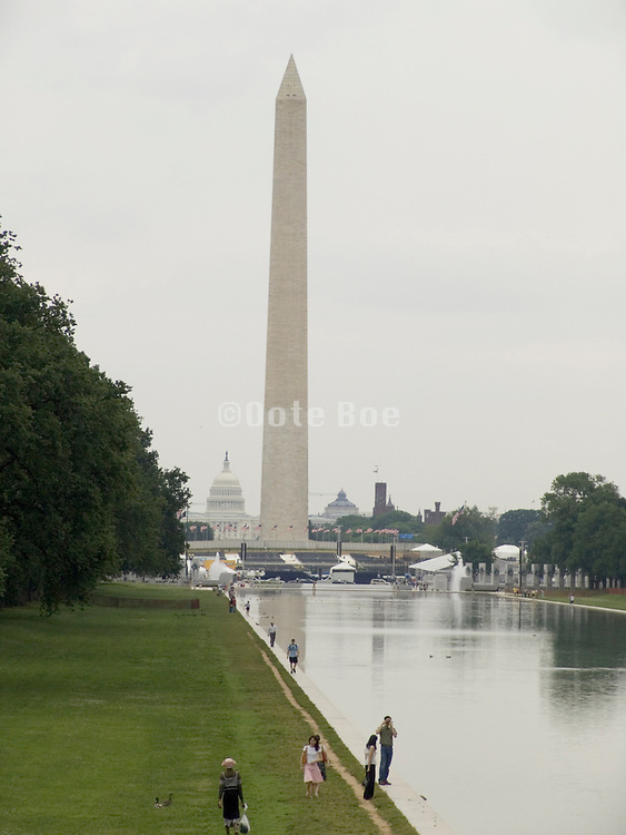 Washington Monument with Reflection pool in the foreground and U.S. Capitol building in the background Washington DC