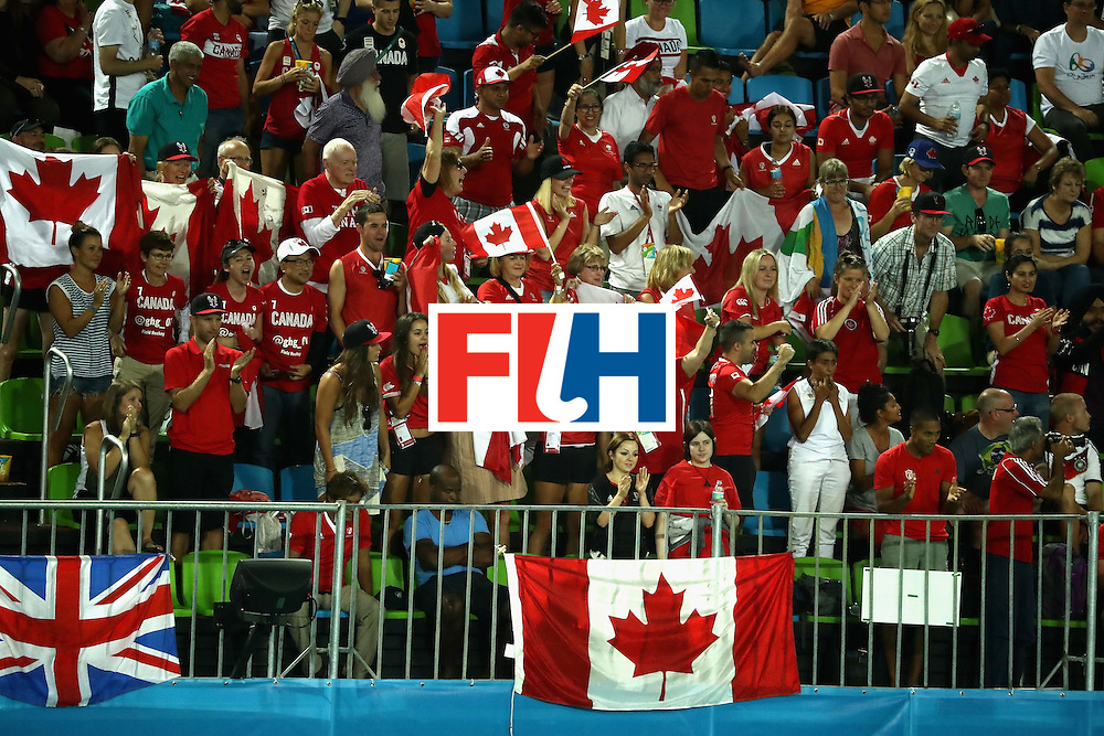 RIO DE JANEIRO, BRAZIL - AUGUST 06:  Canada fans react to a goal by Team Canada during a Men's Pool B match between Germany and Canada on Day 1 of the Rio 2016 Olympic Games at the Olympic Hockey Centre on August 6, 2016 in Rio de Janeiro, Brazil.  (Photo by Sean M. Haffey/Getty Images)