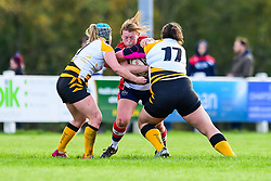 Caryl Thomas of Bristol Ladies is tackled by Amy Cokayne and Claire Purdy of Wasps Ladies - Mandatory by-line: Craig Thomas/JMP - 28/10/2017 - RUGBY - Cleve RFC - Bristol, England - Bristol Ladies v Wasps Ladies - Tyrrells Premier 15s